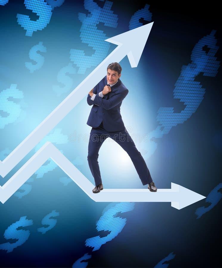 在经济的商人支持的growtn在图图表 免版税库存图片