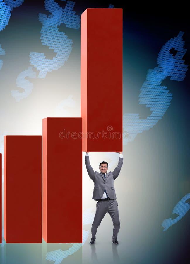 在经济的商人支持的growtn在图图表 图库摄影