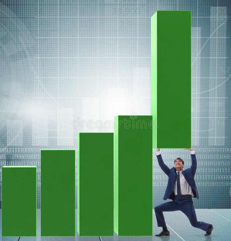 在经济的商人支持的growtn在图图表 库存照片