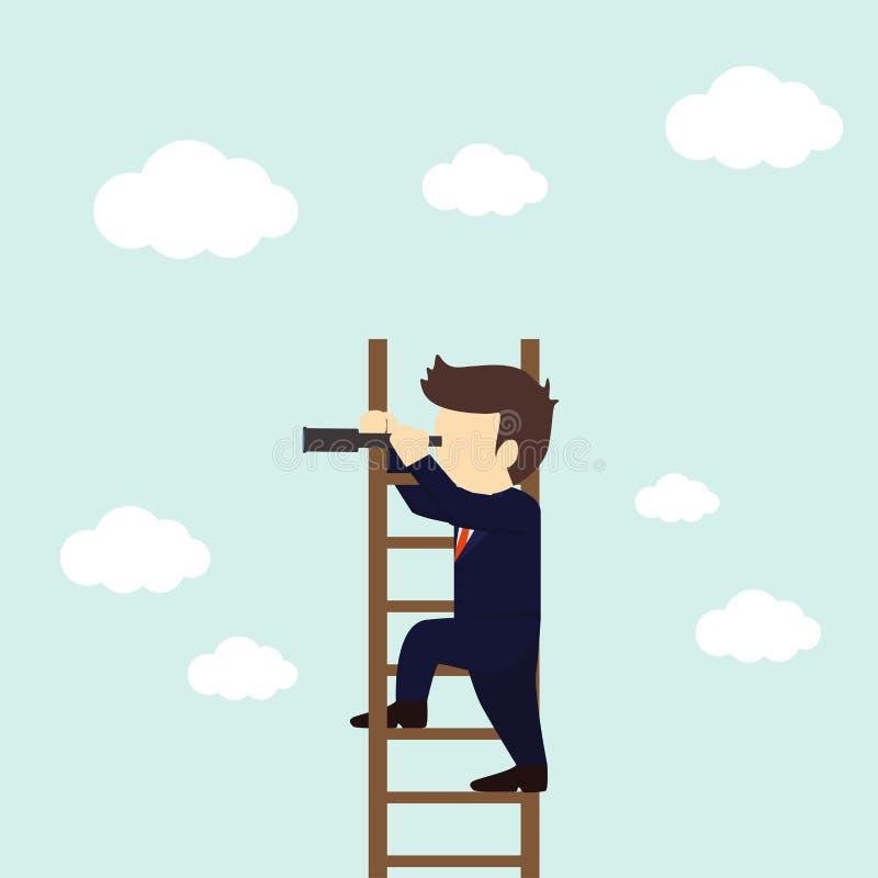 在经营战略的商人查寻在梯子 r 向量例证