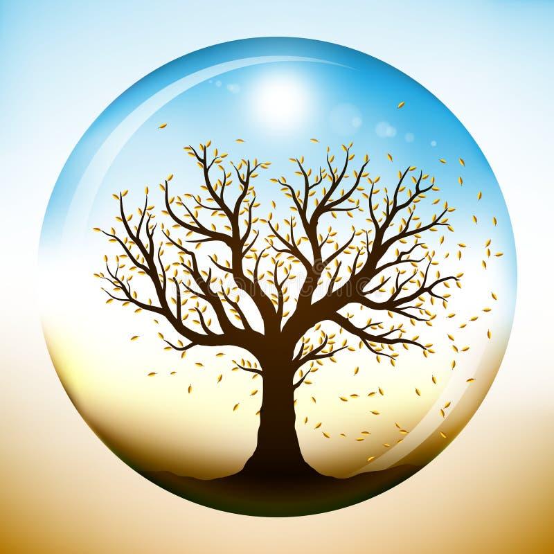 在结构树里面的秋天玻璃地球 向量例证