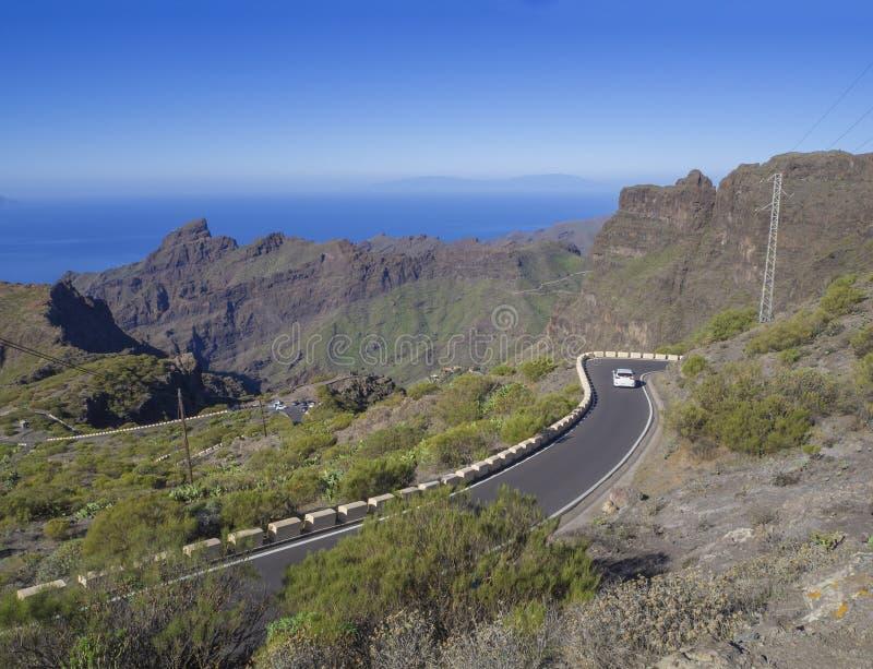 在绕asfalt路的白色汽车drivig向有青山的,锋利的山峰村庄Masca 免版税库存图片