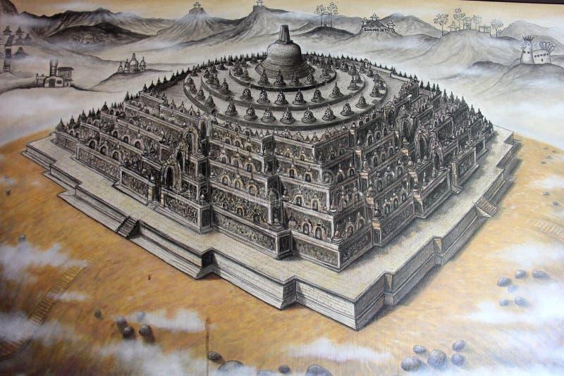 在绘画的婆罗浮屠寺庙由印度尼西亚艺术家 库存图片