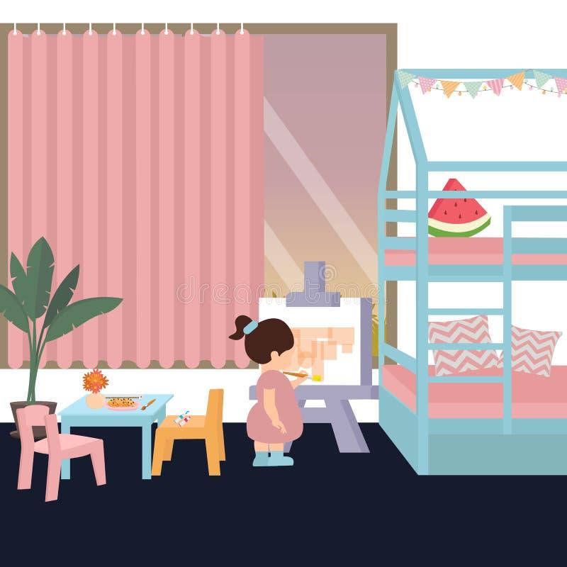 在绘画的逗人喜爱的孩子在他的她的女儿女孩的单独卧室戏剧内部 库存例证