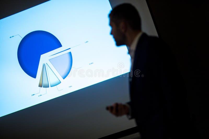 在给介绍的企业车间/会议的报告人 免版税库存照片