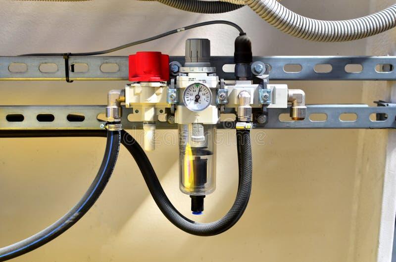 在给水系统的水压传感器 库存图片