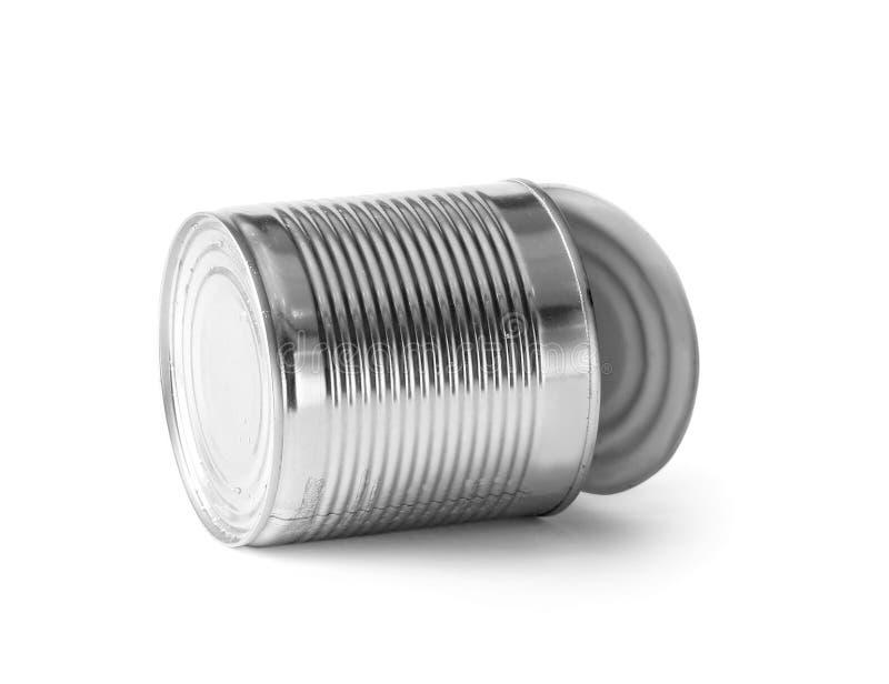 在绝缘材料的开放铁锡罐 免版税库存图片