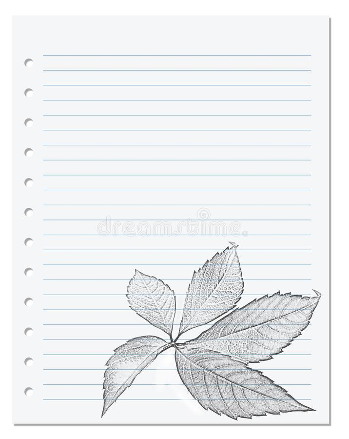 在统治者的笔记本板料与v黑白铅笔图  免版税图库摄影