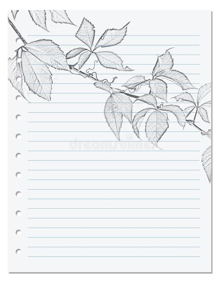 在统治者的笔记本板料与virgi黑白的铅笔图  免版税库存图片