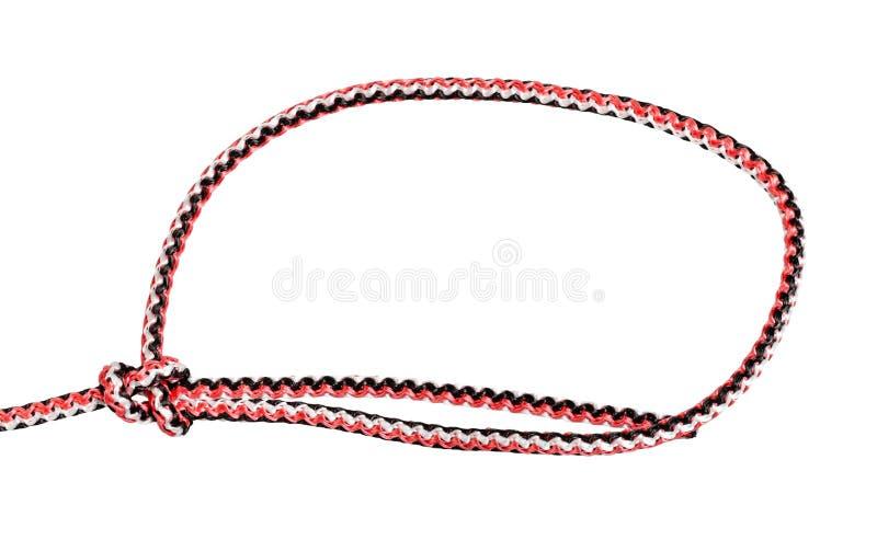 在绳索栓的简单的单套结的另一边 库存照片