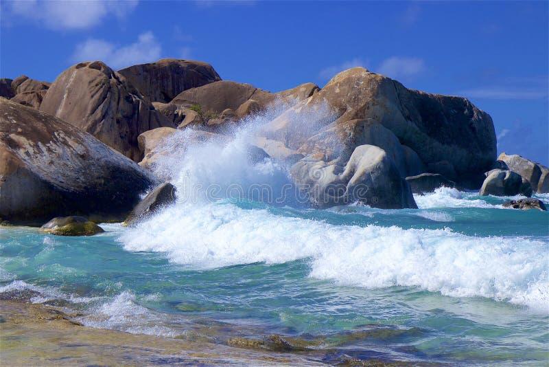 在维尔京戈达岛,加勒比的浴 库存图片