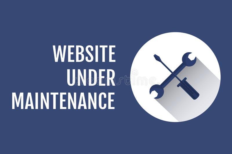 在维护文本下的网站与反对蓝色背景的工具图表 皇族释放例证