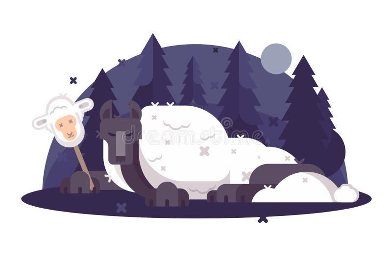 在绵羊衣物平的海报的动画片狼 皇族释放例证