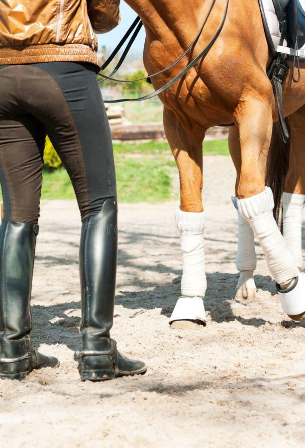 在绷带的马腿有骑马的用皮革包盖女骑士起动 ` 免版税库存图片