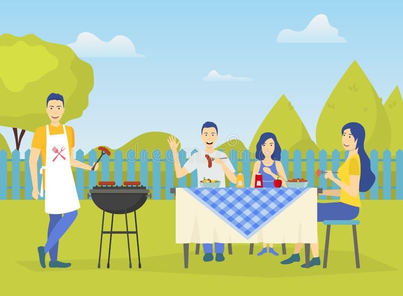 在绿园风景背景场面的家庭活跃假日概念 ?? 向量例证