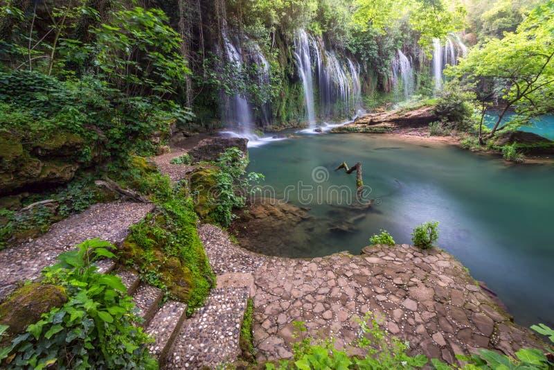 在绿松石水的惊人瀑布在深绿森林里在Kursunlu自然公园,安塔利亚 免版税库存图片