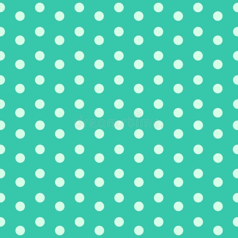 在绿松石背景传染媒介的浅绿色的圆点 免版税库存图片