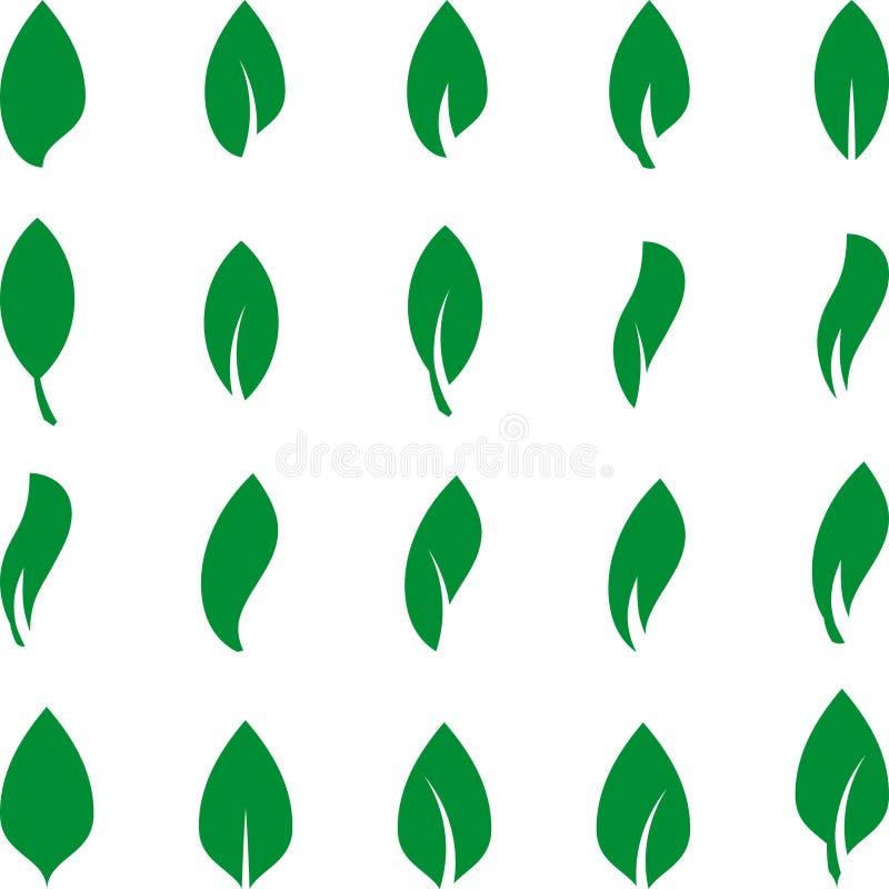 在绿色、叶子汇集,叶子象、自然和健康商标的不同的叶子 库存例证