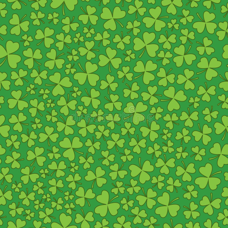 在绿色三叶草的无缝的绿色 库存例证
