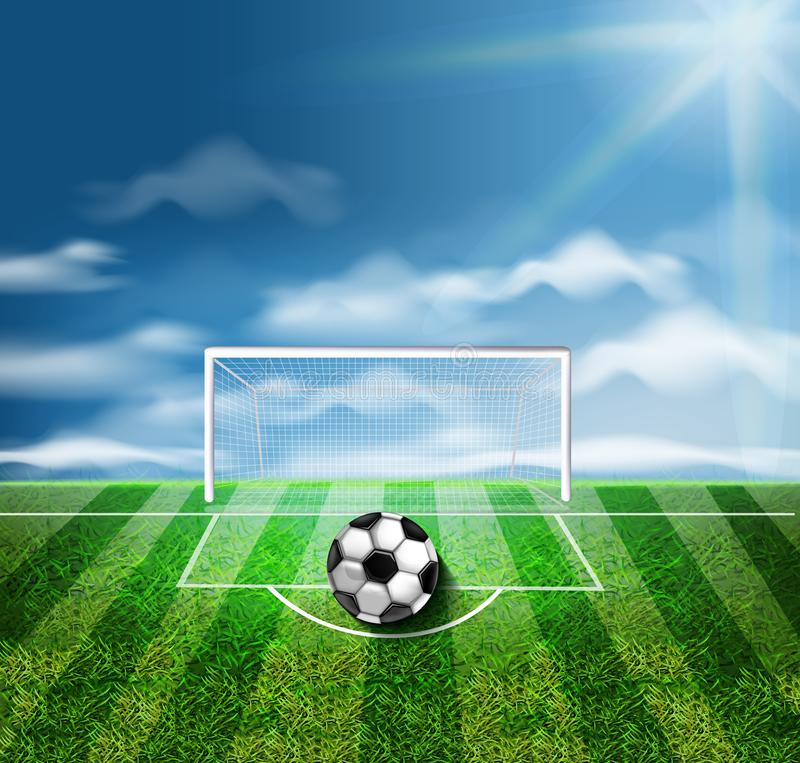 在绿色体育场传染媒介3d现实例证的一个足球 向量例证