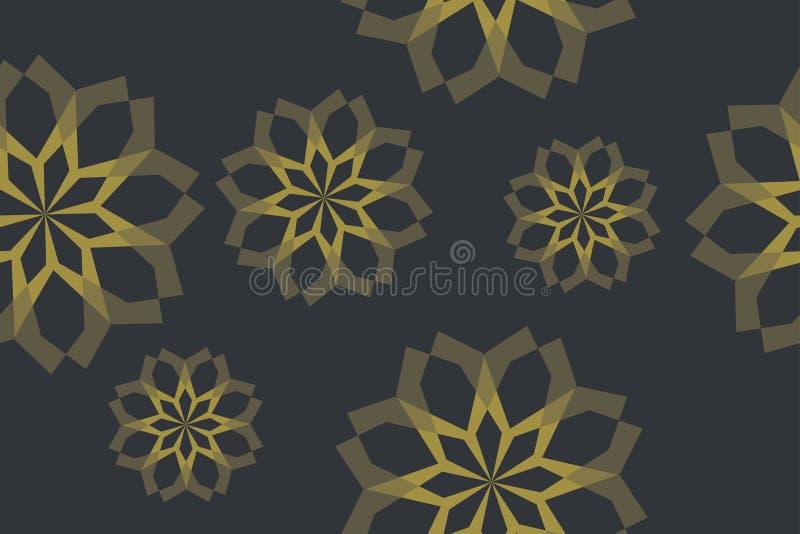 摘要,用几何形状做的无缝的背景样式形成花抽象 皇族释放例证