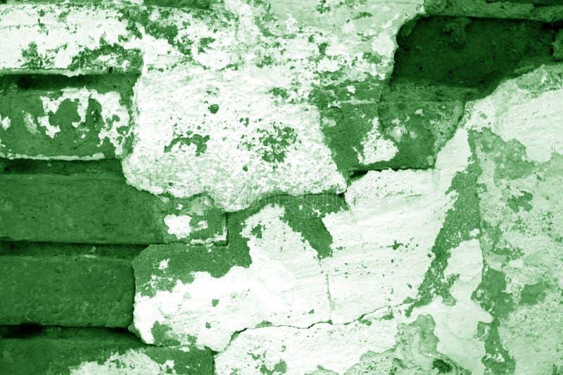 在绿色口气的老脏的砖墙纹理 库存例证