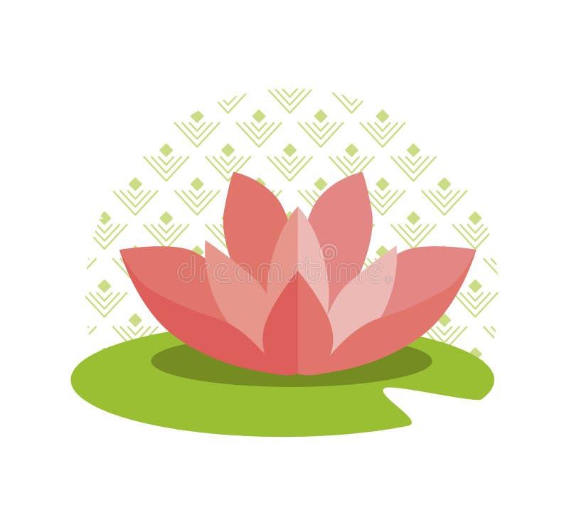 在绿色叶子的桃红色与样式的莲花和圈子 皇族释放例证