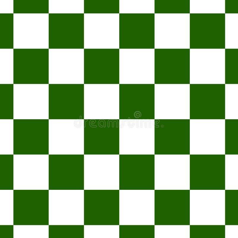 在绿色和白色的棋枰或检测板无缝的样式 棋或验查员比赛的方格的委员会 方法 皇族释放例证