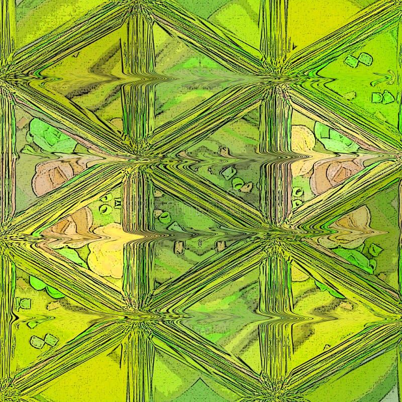 在绿色和石灰颜色的现代抽象金模板在与彩色玻璃作用的背景 皇族释放例证