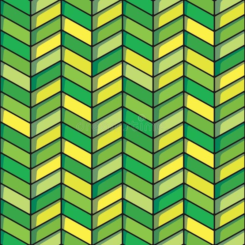 在绿色和黄色口气的人字形无缝的背景 向量例证