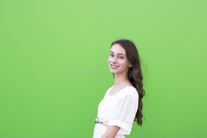 在绿色墙壁上的迷人的妇女 库存照片