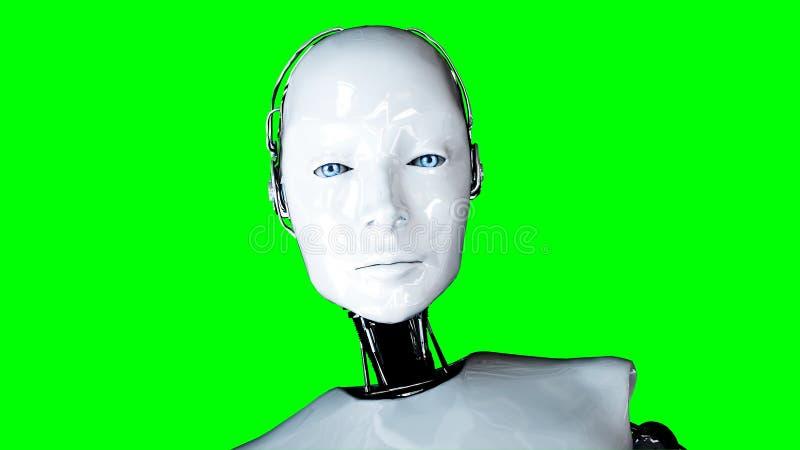 在绿色屏幕上的未来派有人的特点的女性机器人孤立 现实3d翻译 库存例证