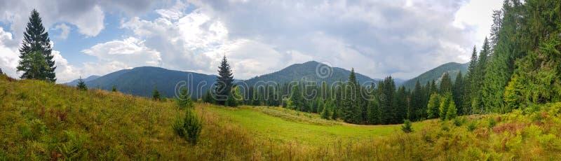 在绿色山和领域的美好的自然风景 免版税图库摄影