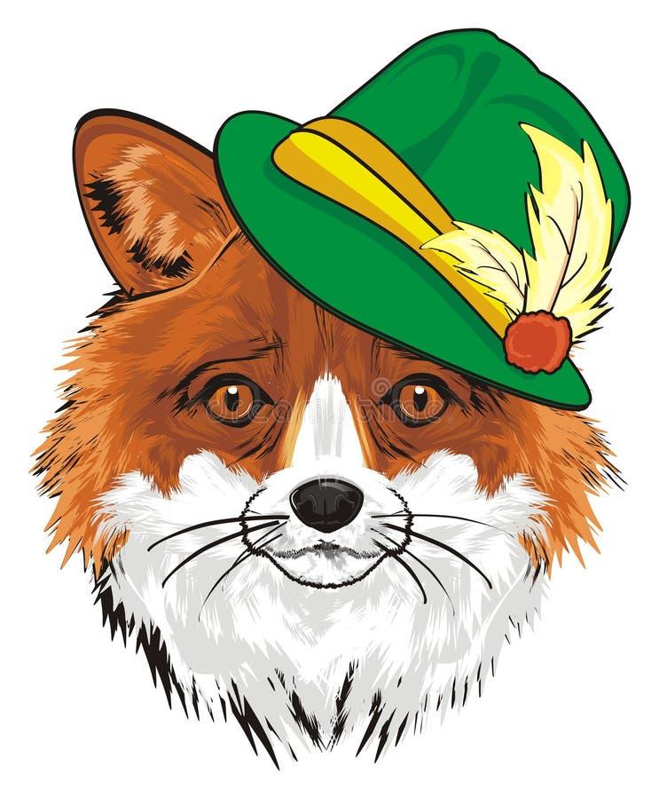 在绿色帽子的Fox 库存例证
