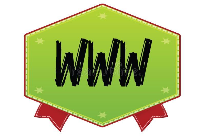 在绿色徽章的万维网与红色丝带 库存例证