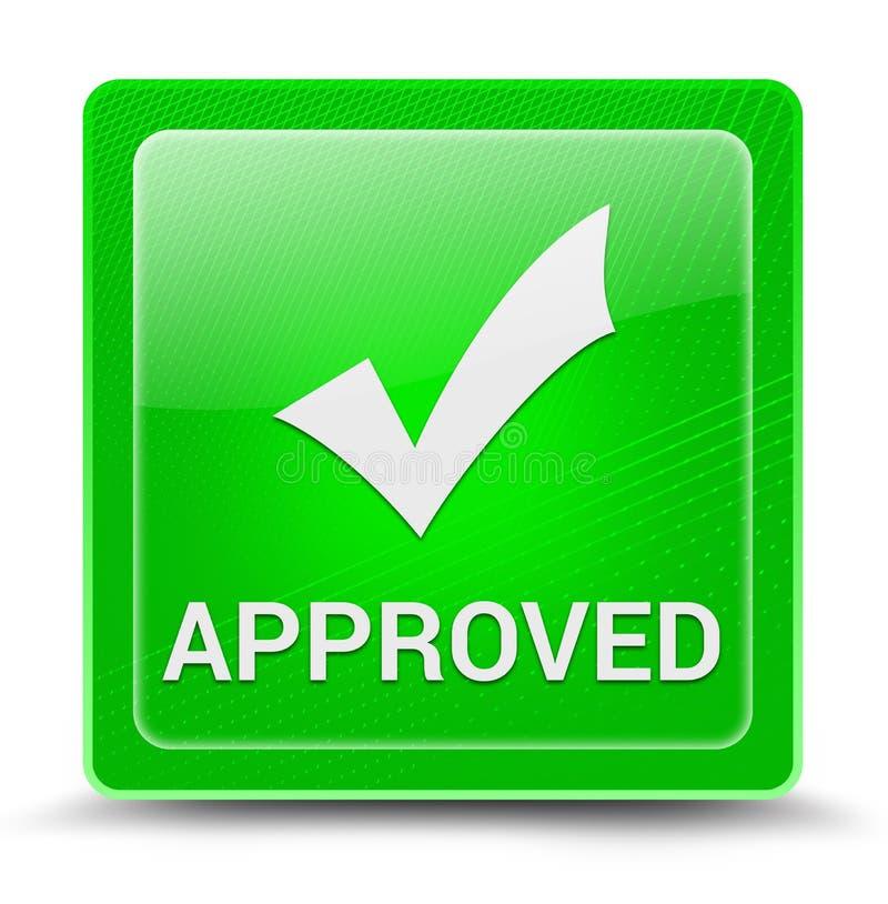 在绿色方形的玻璃状按钮摘要例证隔绝的被批准的象 向量例证