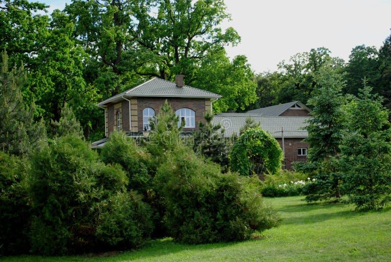 在绿色树中的乡间别墅 免版税库存图片