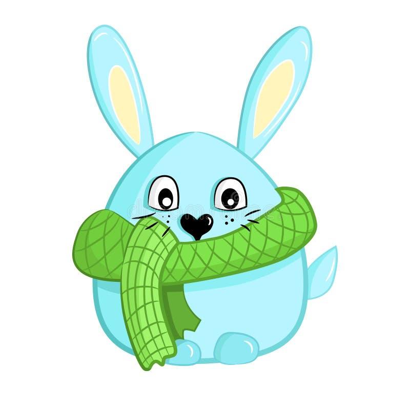 在绿色格子花呢披肩被编织的围巾的逗人喜爱的兔子 向量例证