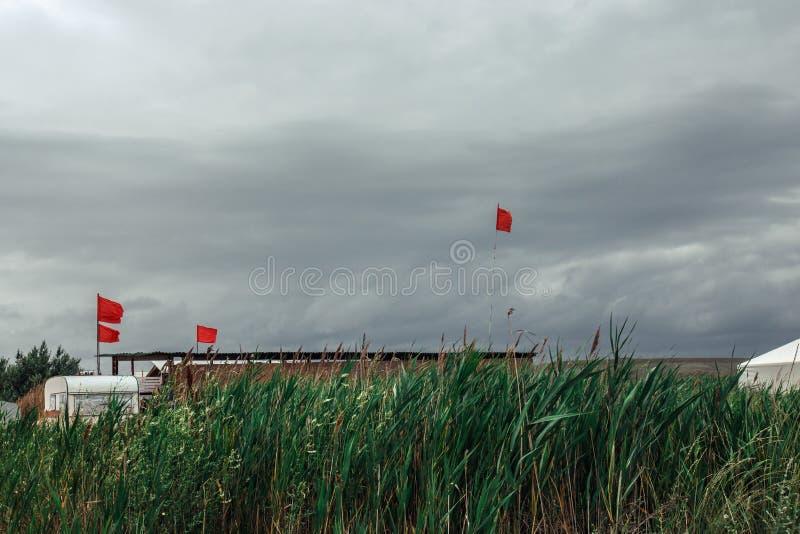 在绿色爬行物背景的红旗 抽象平静概念 免版税库存图片