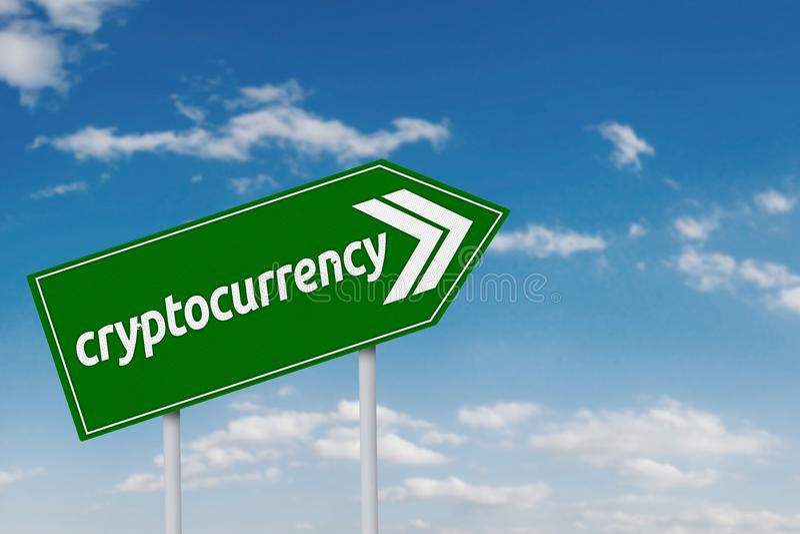 在绿色牌的Cryptocurrency词 皇族释放例证