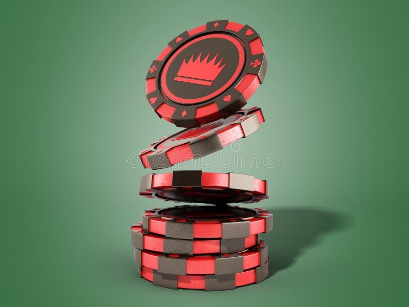 在绿色现实3d的赌博娱乐场红色芯片堆回报对象 库存例证