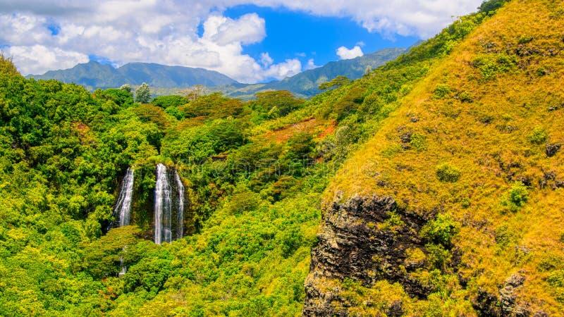 在绿色的平静的瀑布和考艾岛夏威夷黄色山  免版税库存图片
