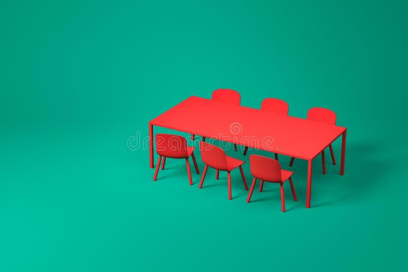 在绿色的红色餐厅家具集合 皇族释放例证