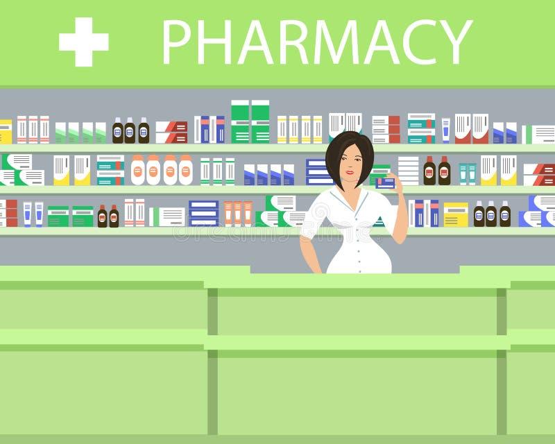 在绿色的药房 药剂师妇女在与医学的架子附近站立 皇族释放例证