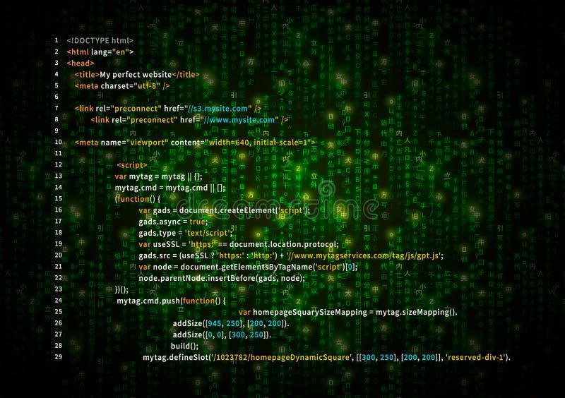 在绿色矩阵标志的简单的HTML代码,在黑暗,技术背景的数字式二进制编码 库存例证