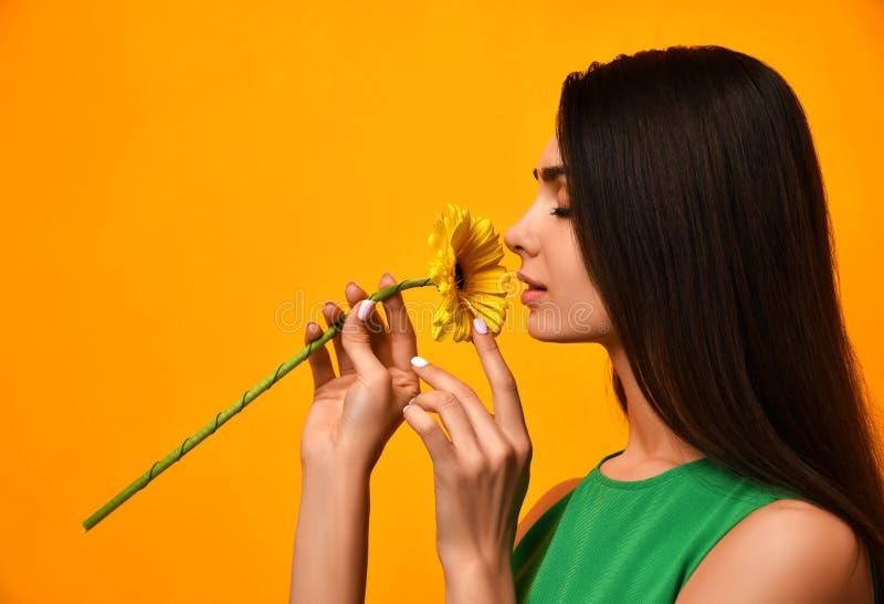 在绿色礼服的年轻俏丽的妇女气味黄色大丁草花 免版税库存照片