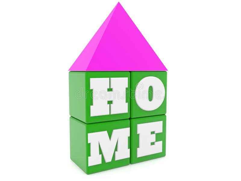 在绿色立方体的家庭概念与屋顶 库存例证