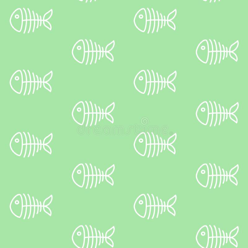 在绿色背景海洋海骨头啪答声的白色鱼骨骼 向量例证