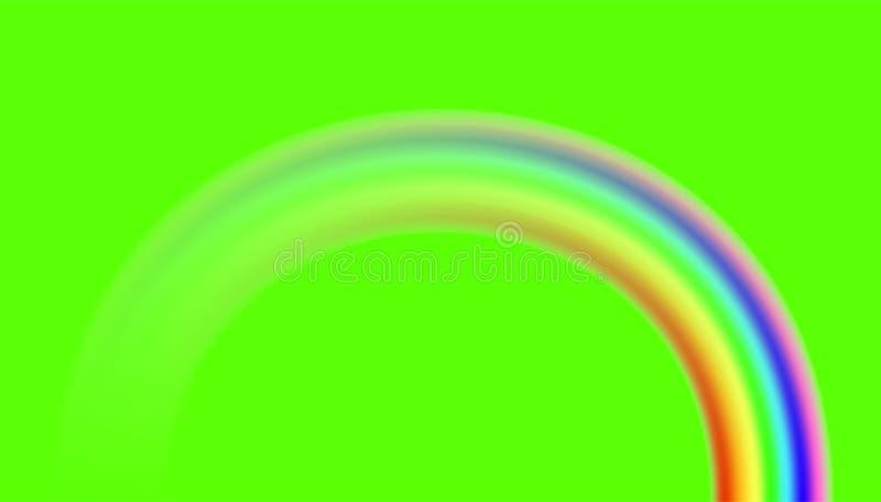 在绿色背景的彩虹 向量 库存例证