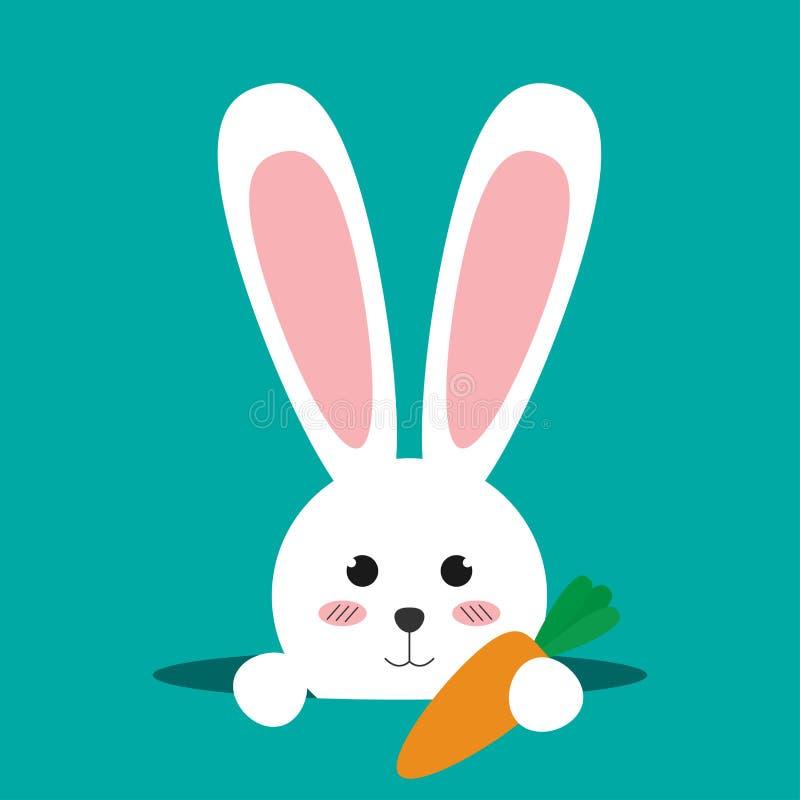 在绿色背景的愉快的复活节兔子 向量例证
